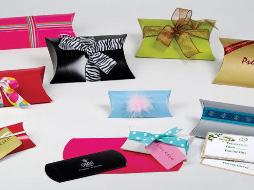 Pillow gift boxes tied with ribbon