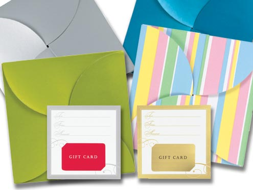 Pinwheel gift card folders with inserts