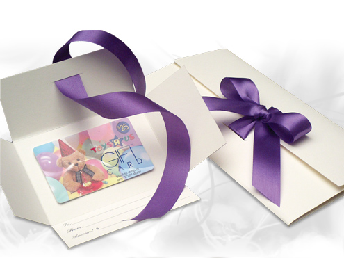Folding ribbon tied gift certificate folders