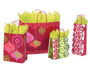 Modern Holiday Print Shopping Bags and Gift Bags