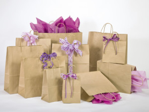 Natural Kraft Paper Shopping Bags with Recycled Materials