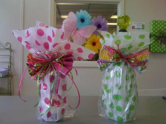candy wine bags with tissue paper and cello