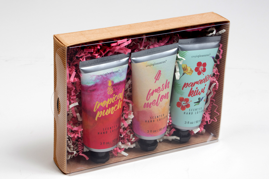 Clear lid gift boxes with lotion inside